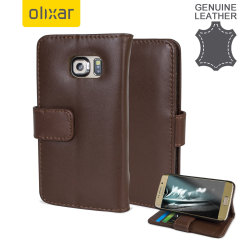 Olixar Genuine Leather Samsung Galaxy S6 Edge Wallet Case - Brown