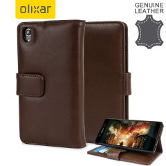 A sophisticated lightweight brown genuine leather case with a magnetic fastener. The Olixar genuine leather wallet case offers perfect protection for your Sony Xperia Z3+, as well as slots for your cards, cash and documents.