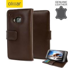 Custodia portafogli in pelle Olixar per HTC One M9 - Marrone