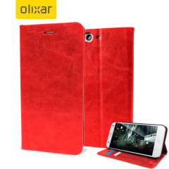 Protect your ZTE Blade S6 in elegant luxury with a leather-style wallet case in red. This Olixar case also includes a viewing stand, perfect for web browsing and watching media with friends and family.