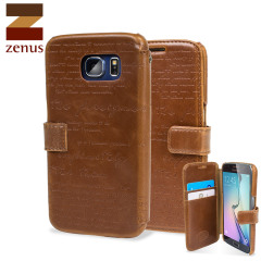 Zenus Lettering Diary Samsung Galaxy S6 Wallet Case - Brown