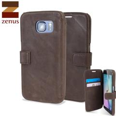 Zenus Vintage Diary Samsung Galaxy S6 Tasche in Dulnkel Braun