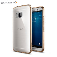 Protect the back and sides of your HTC One M9 without affecting the dynamics of the design with this champagne crystal, Ultra Hybrid case from Spigen.