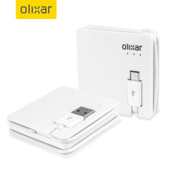 Olixar Charge & Sync Micro USB Cable with 1500mAh Power Bank - White