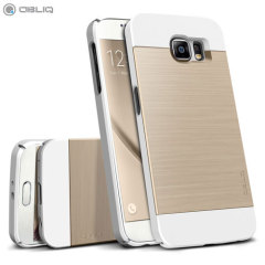 Obliq Slim Meta Samsung Galaxy S6 Case - Vit Champagneguld