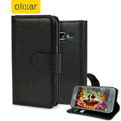 Protect your Samsung Galaxy Grand Prime in elegant luxury with a leather-effect wallet case in black. The case also includes a viewing stand, perfect for watching movies with friends and family. Also compatible with the Core Prime LTE model.
