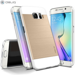 Obliq Slim Meta Samsung Galaxy S6 Edge Case Hülle Weiß Champagner Gold