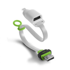 Ksix Dual Connect Micro USB Charger & Sync OTG Cable - White / Grey