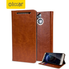 Protect your HTC One M9 Plus in elegant luxury with a leather-style wallet case in brown. This Olixar case also includes a viewing stand, perfect for web browsing and watching media with friends and family.