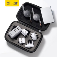 Introducing the perfect travel companion. This 4-in-1 charging accessory kit with case is perfect for ensuring your devices are fully charged wherever you may go featuring a mains USB travel adapter, power bank and two non-tangle retractable cables.