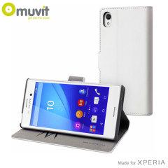 Muvit Wallet Folio Sony Xperia M4 Aqua Case And Stand - White