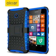 Protect your Microsoft Lumia 535 from bumps and scrapes with this blue ArmourDillo case from Olixar. Comprised of an inner TPU case and an outer impact-resistant exoskeleton, with a built-in viewing stand.