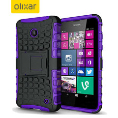 Protect your Microsoft Lumia 535 from bumps and scrapes with this purple ArmourDillo case from Olixar. Comprised of an inner TPU case and an outer impact-resistant exoskeleton, with a built-in viewing stand.