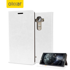 Protect your LG G4 with this durable and stylish white leather-style wallet case by Olixar. What's more, this case transforms into a handy stand to view media and has storage slots for your cards.