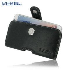 PDair Horizontale Leren Samsung Galaxy S6 Pouch Case - Zwart