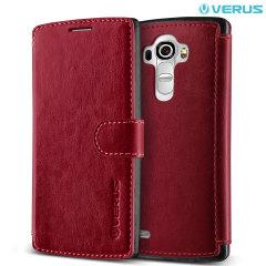 Custodia a portafogli Verus Dandy per LG G4 - Rosso ciliegia