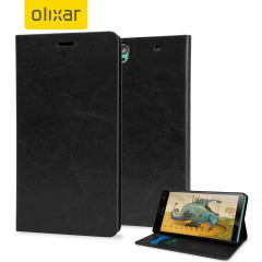 Protect your Sony Xperia C4 with this durable and stylish black leather-style wallet case by Olixar. What's more, this case transforms into a handy stand to view media.