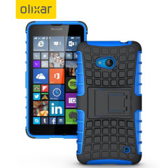 Protect your Microsoft Lumia 640 from bumps and scrapes with this blue ArmourDillo case from Olixar. Comprised of an inner TPU case and an outer impact-resistant exoskeleton, with a built-in viewing stand.