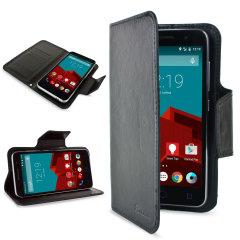 Wrap your Vodafone Smart Prime 6 in luxurious, sophisticated protection with the black Encase Leather-Style Wallet Stand Case. This stylish case has credit card slots and can transform into a convenient viewing stand which rotates between portrait and lan