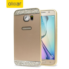 Bling Crystal Samsung Galaxy S6 Metal Bumper Case - Gold