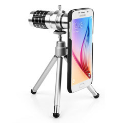 Get up close and personal with this long range telescope for the Samsung Galaxy S6 featuring a 12x magnification lens for high quality images. Also includes a tripod, compatible hard backed case, carry pouch and cleaning cloth.
