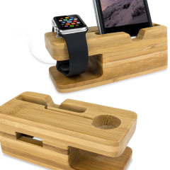 Base de carga de bamboo para el iPhone y el Apple Watch