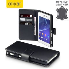 Olixar Premium Genuine Leather Sony Xperia M2 Wallet Case - Black