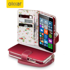 Olixar Leather-Style Microsoft Lumia 640 Wallet Case - Floral Red