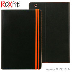 This high quality folio case from Roxfit houses your Sony Xperia Z4 Tablet, providing protection and access to your ports and features while incorporating a built-in viewing stand - in black with orange trim.