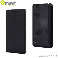 Custodia in ecopelle Easy Folio Muvit per Sony Xperia C4 - Nero