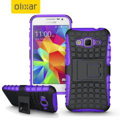 Protect your Samsung Galaxy Core Prime from bumps and scrapes with this purple ArmourDillo case. Comprised of an inner TPU case and an outer impact-resistant exoskeleton, with a built-in viewing stand.