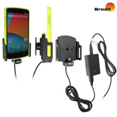 Charge and use your Google Nexus 5 in your vehicle with this case compatible Brodit active holder with tilt swivel.