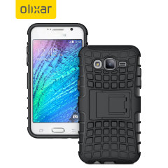 Protect your Samsung Galaxy J7 2015 from bumps and scrapes with this black ArmourDillo case. Comprised of an inner TPU case and an outer impact-resistant exoskeleton, with a built-in viewing stand.