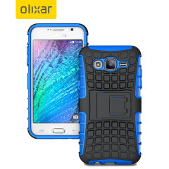 Protect your Samsung Galaxy J7 2015 from bumps and scrapes with this blue ArmourDillo case. Comprised of an inner TPU case and an outer impact-resistant exoskeleton, with a built-in viewing stand.