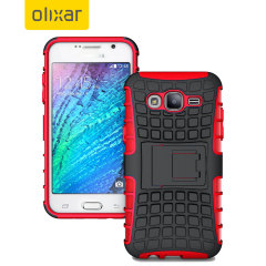 Protect your Samsung Galaxy J7 2015 from bumps and scrapes with this red ArmourDillo case. Comprised of an inner TPU case and an outer impact-resistant exoskeleton, with a built-in viewing stand.