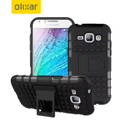 Protect your Samsung Galaxy J1 2015 from bumps and scrapes with this black ArmourDillo case. Comprised of an inner TPU case and an outer impact-resistant exoskeleton, with a built-in viewing stand.