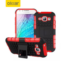 Protect your Samsung Galaxy J1 2015 from bumps and scrapes with this red ArmourDillo case. Comprised of an inner TPU case and an outer impact-resistant exoskeleton, with a built-in viewing stand.
