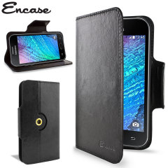 Wrap your Samsung Galaxy J1 2015 in luxurious, sophisticated protection with the black Encase Leather-Style Wallet Stand Case. This stylish case has credit card slots and can transform into a convenient viewing stand which rotates between portrait and lan