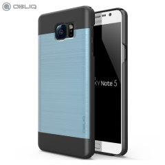 Custodia Obliq Slim Meta per Samsung Galaxy Note 5 - Nero / Celeste