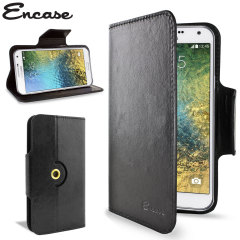 Wrap your Samsung Galaxy E7 in luxurious, sophisticated protection with the black Encase Leather-Style Wallet Stand Case. This stylish case has credit card slots and can transform into a convenient viewing stand which rotates between portrait and landscap
