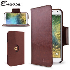 Wrap your Samsung Galaxy E7 in luxurious, sophisticated protection with the brown Encase Leather-Style Wallet Stand Case. This stylish case has credit card slots and can transform into a convenient viewing stand which rotates between portrait and landscap