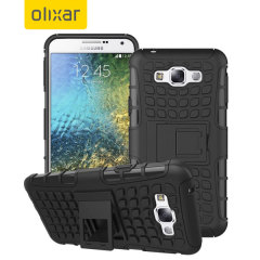 Protect your Samsung Galaxy E7 from bumps and scrapes with this black ArmourDillo case. Comprised of an inner TPU case and an outer impact-resistant exoskeleton, with a built-in viewing stand.