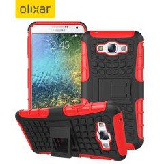 Proteggi il tuo Galaxy E7 con questa custodia ArmourDillo della Olixar dotata di una cover interna in TPU ed un esoscheletro resistente agli urti. Colore: rosso.