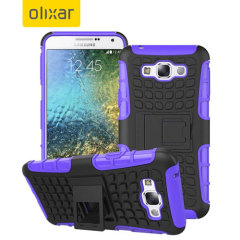 Protect your Samsung Galaxy E7 from bumps and scrapes with this purple ArmourDillo case. Comprised of an inner TPU case and an outer impact-resistant exoskeleton, with a built-in viewing stand.