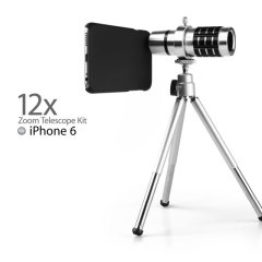 Get up close and personal with this long range telescope kit for the iPhone 6S / 6, featuring a 12x magnification lens for high quality images. Also includes a tripod, back cover, lenses, carry pouch and cleaning cloth.
