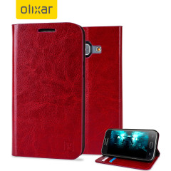 Protect your Samsung Galaxy J1 2015 with this elegant and luxurious leather-effect wallet case from Olixar in red. This stylish wallet case stores your cards and also includes a viewing stand, perfect for watching movies with friends and family.
