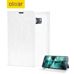 Protect your Samsung Galaxy Note 5 with this durable and stylish white leather-style wallet case from Olixar. What's more, this case transforms into a handy stand to view media.