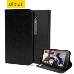 The Olixar leather-style Motorola Moto G 3rd Gen Wallet Case in black attaches to the back of your phone to provide enclosed protection and can also be used to hold your credit cards.