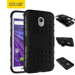 Protect your Motorola Moto G 3rd Gen with this black Olixar ArmourDillo Protective Case, comprised of an inner TPU case and an outer impact-resistant exoskeleton.