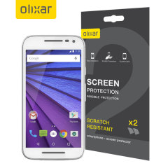 Keep your Moto G 3rd Gen screen in pristine condition with this Olixar scratch-resistant screen protector 2-in-1 Pack.